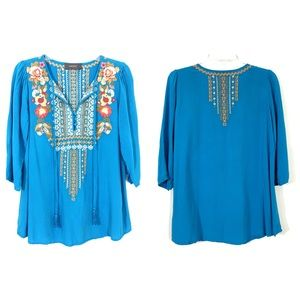 Anthropologie Sawyer Embroidered Blue Top
